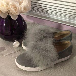 Steve Madden Gray Puffball Shoes